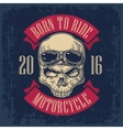 Skull with glasses for motorcycle on forehead vector image