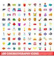 100 cinematography icons set cartoon style vector image