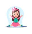 sweet cartoon little girl sitting inside giant vector image