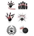 Bowling sports emblems and symbols vector image