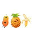 cute fruits peeled banana pine apple papaya vector image