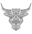 Patterned head of the bull in zentangle style vector image