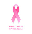 realistic pink ribbon closeup isolated on white vector image