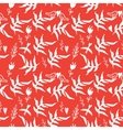 Red seamless pattern with weed flowers and birds vector image