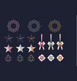 set of rose gold gold silver cutout star wreath vector image