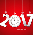 Happy New Year 2017 with clock vector image