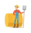 Man With Fork Standing Next To Hay Stack Farmer vector image
