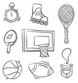 doodle sport equipment various style vector image
