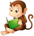A monkey sitting while reading a book vector image