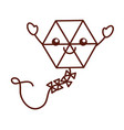 beautiful kite flying kawaii character vector image