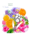 Background with summer flowers and watercolors-01 vector image vector image