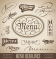 vintage menu headlines vector image vector image