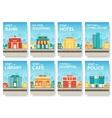 Building city information cards set Architecture vector image