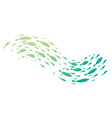 colored silhouettes of groups of sea fishes vector image