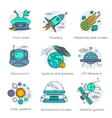 Colored Space Universe Line Icon Set vector image