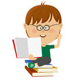 cute nerd little boy shows open textbook vector image