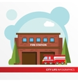 Fire station building and fire engine icon in the vector image