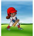 Girl playing baseball outdoor vector image