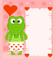 pink valentines day background with crocodile vector image