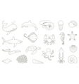The outlines of fish and other sea creatures vector image