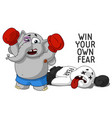 elephanthe conquered his fear boxer vector image