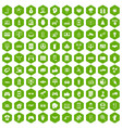 100 hi-tech icons hexagon green vector image vector image