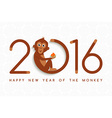 Chinese new year monkey 2016 cute card vector image