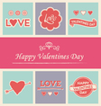 Happy valentines day icons and text set vector image vector image