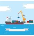 Cargo transportation ship vector image