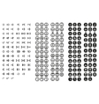 Simple minimal black and white pixel smiles set vector image