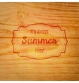 Summer label over wooden background vector image