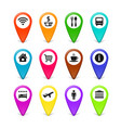 travel symbols map pins set vector image
