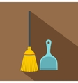 Broom and dustpan icon flat style vector image