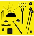 Sewing kit on a yellow background vector image vector image