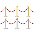 Barrier rope gold and silver vector image