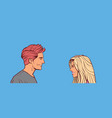 beautiful man and woman looking at each other vector image