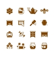 Bee hive honey honeycomb icons vector image