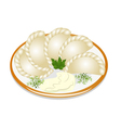 dumplings with sour cream on the plate vector image