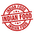 indian food round red grunge stamp vector image