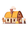 medieval peasant household cartoon vector image