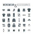 Men fashion clothes and accessories flat outline vector image