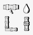 set tubes objects with water drops vector image