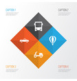 shipment icons set collection of skooter airship vector image