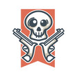 skull with weapons emblem vector image