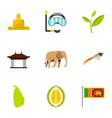 sri lanka icons set flat style vector image