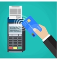 Payments using terminal and debit credit card vector image