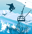 snowboarder on a background of mountains vector image vector image