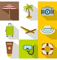 Beach icons set flat style vector image