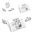 Cartoon happy newspaper icon character vector image