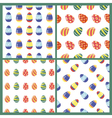 Happy Easter Seamless Patterns Set with Eggs vector image